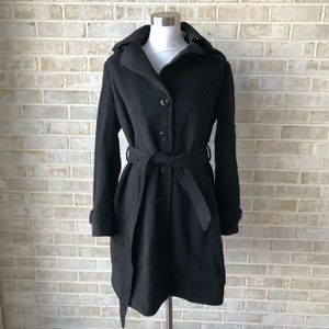 DVF Coat Size L Black Wool Blend Hooded Large NWT